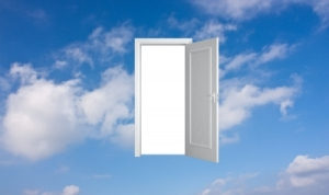 White Door in Sky