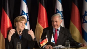 German Chancellor Angela Merkel and Prime Minister Benjamin Netanyahu attend a joint press conference at the King David hotel in Jerusalem on February 25, 2014 (photo credit: AFP/Menahem Kahana/Times of Israel)
