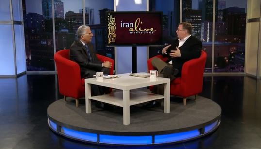 """Hormoz Shariat, the """"Billy Graham of Iran,"""" and I discuss the Gospel on live satellite TV broadcast into the Persian speaking world."""