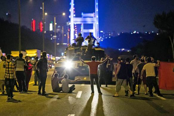 Elements of the Turkish military close down the bridge outside of Istanbul, which connects Europe to Asia.