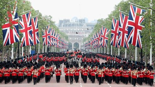 Troops parading along The Mall to return to barracks after the Trooping the Colour ceremony in Horse Guards Parade